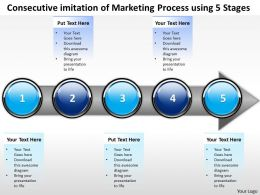 Business PowerPoint Templates consecutive imitation of marketing process using 5 stages Sales PPT Slides