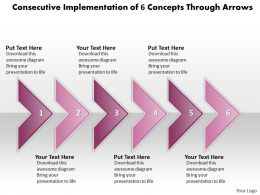 Business PowerPoint Templates consecutive implementation of 6 concepts through arrows Sales PPT Slides