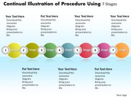 Business PowerPoint Templates continual illustration of procedure using 7 stages Sales PPT Slides