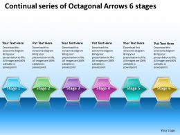 Business PowerPoint Templates continual series of octagonal arrows 6 stages Sales PPT Slides
