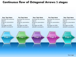 Business PowerPoint Templates continuous flow of octagonal arrows 5 stages Sales PPT Slides