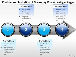 Business PowerPoint Templates continuous illustration of marketing process using 4 stages Sales PPT Slides