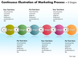 Business PowerPoint Templates continuous illustration of marketing process using 6 stages Sales PPT Slides