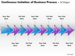 Business PowerPoint Templates continuous imitation of process using 10 stages Sales PPT Slides