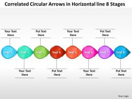 Business PowerPoint Templates correlated circular arrows horizontal line 8 stages Sales PPT Slides
