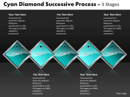 Business PowerPoint Templates cyan diamond successive process 5 stages Sales PPT Slides