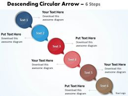 Business PowerPoint Templates descending circular arrow 6 steps Sales PPT Slides