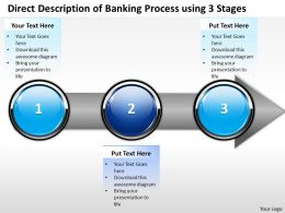 Business PowerPoint Templates direct description of banking process using 3 stages Sales PPT Slides