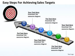 Business PowerPoint Templates easy steps for achieving sales targets PPT Slides