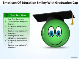 Business PowerPoint Templates emoticon of education smiley with graduation cap Sales PPT Slides