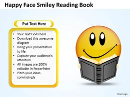 Business PowerPoint Templates happy face smiley reading book Sales PPT Slides