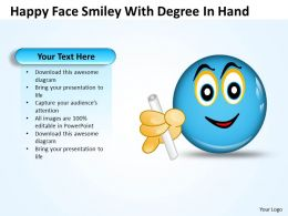 Business PowerPoint Templates happy face smiley with degree hand Sales 121