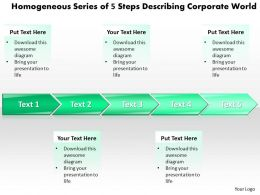 Business PowerPoint Templates homogeneous series of 5 steps describing corporate world Sales PPT Slides