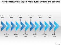 Business PowerPoint Templates horizontal arrows depict procedures linear sequence Sales PPT Slides