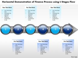 Business PowerPoint Templates horizontal demonstration of finance process using 6 stages Sales PPT Slides