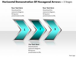 Business PowerPoint Templates horizontal demonstration of hexagonal arrows 3 stages Sales PPT Slides