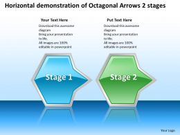 Business PowerPoint Templates horizontal demonstration of octagonal arrows 2 stages Sales PPT Slides