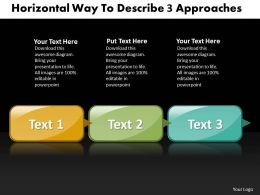 Business PowerPoint Templates horizontal way to describe 3 approaches Sales PPT Slides
