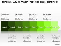 Business PowerPoint Templates horizontal way to prevent production losses eight steps Sales PPT Slides