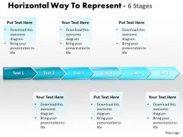 Business PowerPoint Templates horizontal way to represent 6 stages Sales PPT Slides