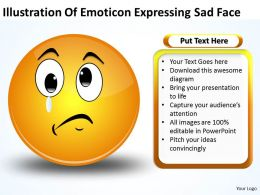 Business PowerPoint Templates illustration of emoticon expressing sad face Sales PPT Slides