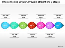Business PowerPoint Templates interconnected circular arrows straight line 7 stages Sales PPT Slides