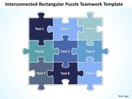 Business PowerPoint Templates interconnected rectangular Strategy Puzzle teamwork Sales PPT Slides