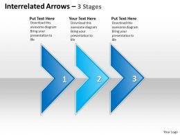 Business PowerPoint Templates interrelated arrows three stages Sales PPT Slides
