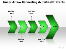 Business PowerPoint Templates linear arrow connecting activities or events k Sales PPT Slides 4 stages