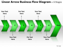 Business PowerPoint Templates linear arrow flow diagram Sales PPT Slides 6 stages