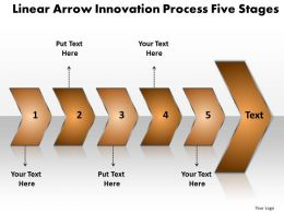 Business PowerPoint Templates linear arrow innovation process five stages k Sales PPT Slides 5 stages