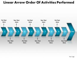 Business PowerPoint Templates linear arrow order of activities performed Sales PPT Slides 10 stages