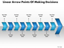 Business PowerPoint Templates linear arrow points of making decisions Sales PPT Slides 9 stages