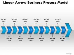 Business PowerPoint Templates linear arrow process model Sales PPT Slides 12 stages
