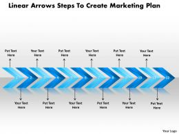 Business PowerPoint Templates linear arrows steps to create marketing plan Sales PPT Slides