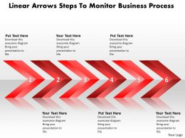 Business PowerPoint Templates linear arrows steps to monitor busniess process Sales PPT Slides
