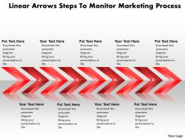 Business PowerPoint Templates linear arrows steps to monitor marketing process Sales PPT Slides