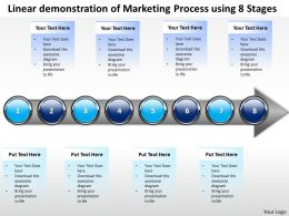 Business PowerPoint Templates linear demonstration of marketing process using 8 stages Sales PPT Slides