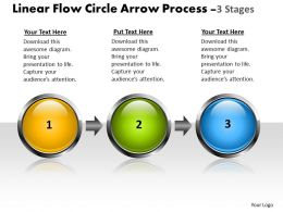 Business PowerPoint Templates linear flow circle arrow process 3 stages Sales PPT Slides