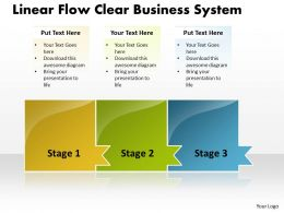 Business PowerPoint Templates linear flow clear system Sales PPT Slides 3 Stages