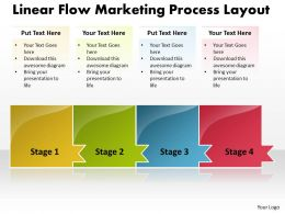 Business PowerPoint Templates linear flow marketing process layout Sales PPT Slides 4 stages