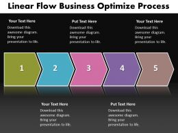 Business PowerPoint Templates linear flow ppt optimize process Sales Slides