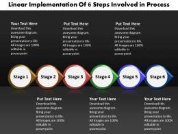 Business PowerPoint Templates linear implementation of 6 steps involved process Sales PPT Slides