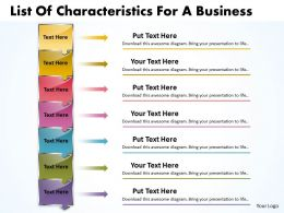 Business PowerPoint Templates list of characteristics for process Sales PPT Slides 7 stages