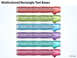 Business PowerPoint Templates multicolored rectangle text boxes Sales PPT Slides 6 stages