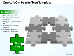 Business PowerPoint Templates one left out Strategy Puzzle piece Sales PPT Slides