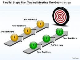 Business PowerPoint Templates parallel steps plan toward meeting the goal Sales PPT Slides