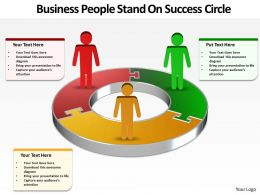 Business PowerPoint Templates people stand on success circle Sales PPT Slides