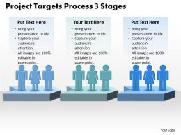 Business PowerPoint Templates project targets process 3 stages Sales PPT Slides