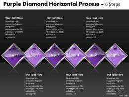 Business PowerPoint Templates purple diamond horizontal process 6 steps Sales PPT Slides